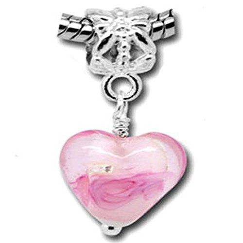 Foil Glass Hearts European Charm for Snake Chain Bracelets (Pink)