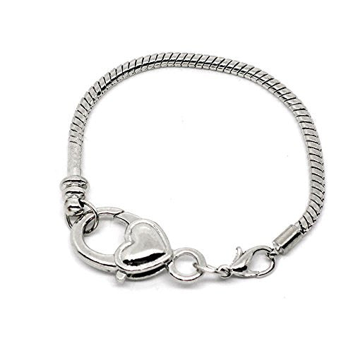 "8.25"" Heart Lobster Clasp Charm Bracelet Silver Tone for European Charms"