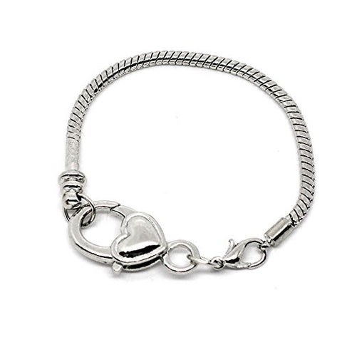 "8.25"" Heart Lobster Clasp Charm Bracelet Silver Tone for European Charms - Sexy Sparkles Fashion Jewelry - 1"