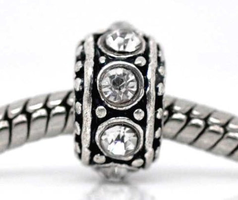 April Birthstone Antique Silver Rhinestone Spacer Beads Fit European Bracelet - Sexy Sparkles Fashion Jewelry - 2
