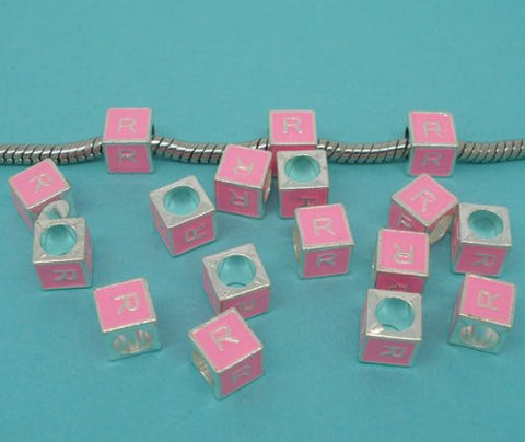 """R"" Letter Square Charm Beads Pink Enamel European Bead Compatible for Most European Snake Chain Charm Bracelet - Sexy Sparkles Fashion Jewelry - 2"