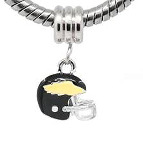 Black and Yellow Football Helmet European Bead Compatible for Most European Snake Chain Bracelet - Sexy Sparkles Fashion Jewelry
