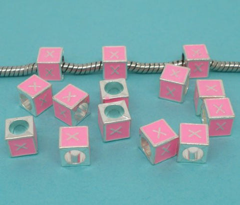 """X"" Letter Square Charm Beads Pink Enamel European Bead Compatible for Most European Snake Chain Charm Braceletss - Sexy Sparkles Fashion Jewelry - 2"