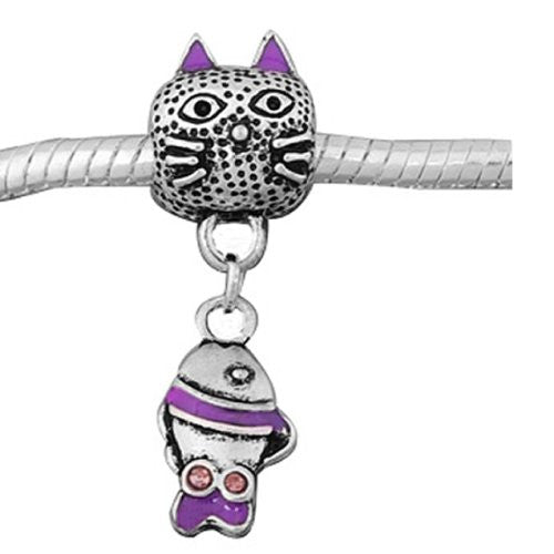 Cat With Fish Charm for European Snake Chain Charm Bracelets