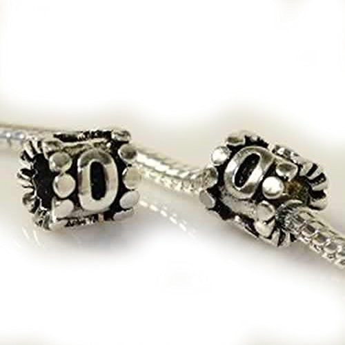 Number 0 Slide on European Bead Compatible for Most European Snake Chain Charm Bracelet - Sexy Sparkles Fashion Jewelry