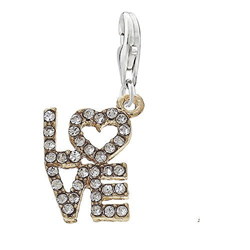 Love Clip on Pendant Charm for Bracelet or Necklace