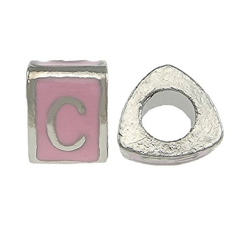 """C"" LetterTriangle Charm Beads Spacer for Snake Chain Charm Bracelet"