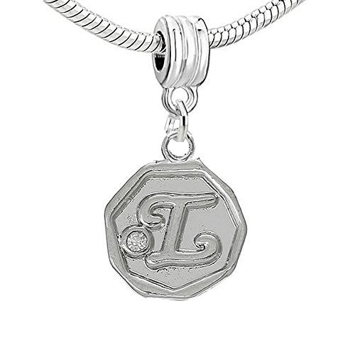 Alphabet Letter L Carved with Clear  Crystals Charm Dangle Bead Compatible with European Snake Chain Bracelets