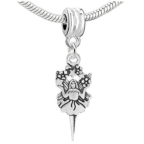 Angel Flower Fairy Girl Charm Dangle Bead Compatible with European Snake Chain Bracelet