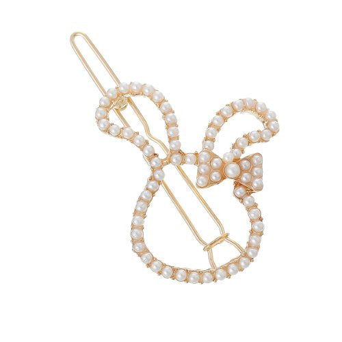 Hair Pin Clips Rose Gold Tone with Imitaiton Pearls Choose Your Design From Menu (Rabbit 5.2cm X 3.4cm) - Sexy Sparkles Fashion Jewelry