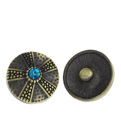 Chunk Snap Buttons Fit Chunk Bracelet Round Antique Bronze Flower Pattern Carved Lake Blue Rhinestone 20mm