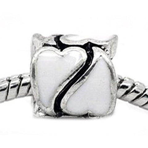 Heart Pattern Bead European Bead Compatible for Most European Snake Chain Braceletss (White) - Sexy Sparkles Fashion Jewelry - 1