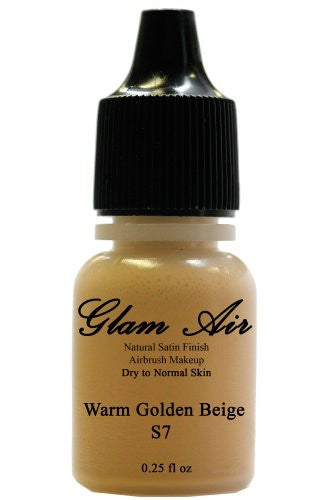 Airbrush Makeup Foundation Satin S7 Warm Golden Beige Water-based Makeup Lasting All Day 0.25 Oz Bottle By Glam Air - Sexy Sparkles Fashion Jewelry - 1