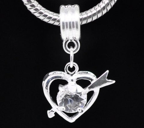Clear Rhinestone Qupid Heart Dangle Charm European Bead Compatible for Most European Snake Chain Bracelet - Sexy Sparkles Fashion Jewelry - 2