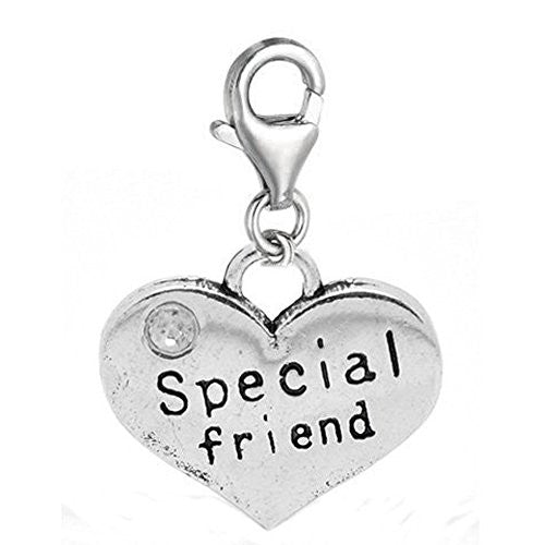 Special Friend Two Sided Heart Clip On Charm Pendant for European Charm Jewelry w/ Lobster Clasp