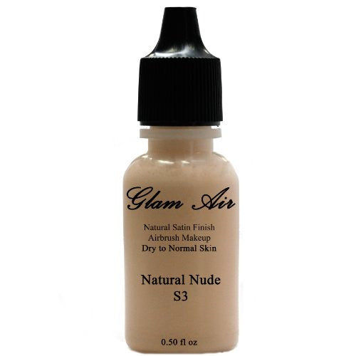 Large Bottle Airbrush Makeup Foundation Satin S3 Natural Nude Water-based Makeup Lasting All Day 0.50 Oz Bottle By Glam Air - Sexy Sparkles Fashion Jewelry - 1