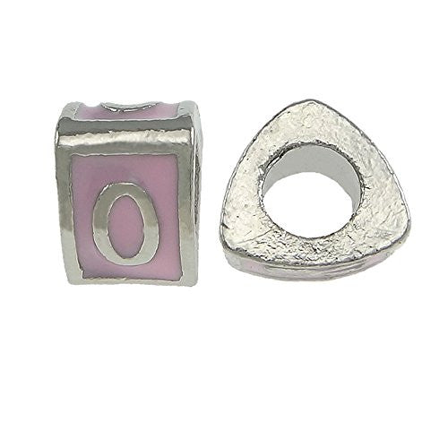"""O"" Letter Triangle Charm Beads Pink  Spacer for Snake Chain Charm Bracelet"