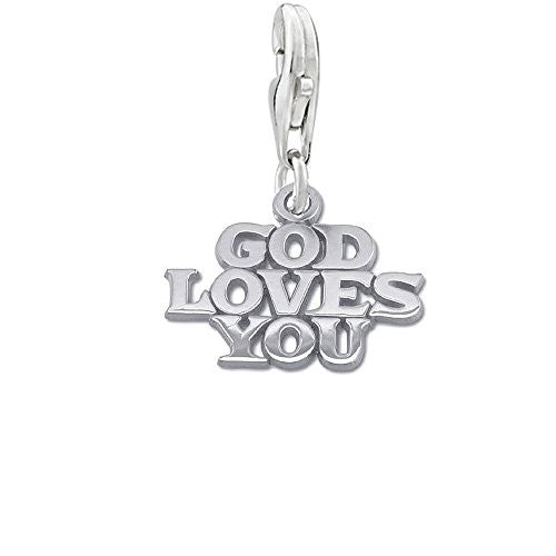 God Loves You Clip on Pendant for European Necklace or Bracelet