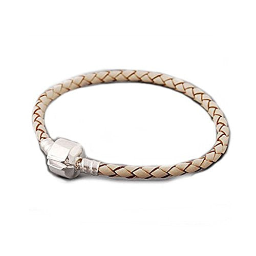 "High Quality Real Leather Bracelet Champagne  (7.25"")Fits Beads For European Snake Chain Charms"