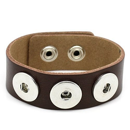 Real Leather Copper Buckle Bracelets Coffee Chunk Buttons Fit Interchangeable Snap Fasteners 24cmx2.4cm