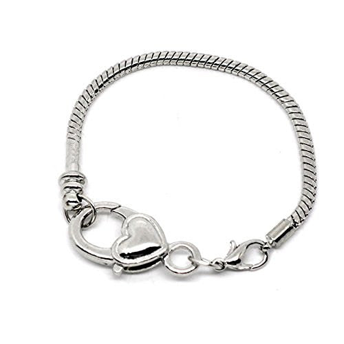 "7.5"" Heart Lobster Clasp Charm Bracelet Silver Tone for European Charms"