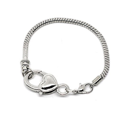 "7.0"" Heart Lobster Clasp Charm Bracelet Silver Tone for European Charms - Sexy Sparkles Fashion Jewelry - 1"