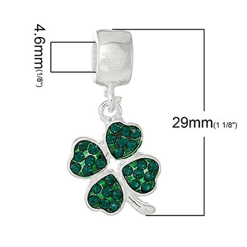 Four Leaf Clover With Green ed Crystals Charm Bead - Sexy Sparkles Fashion Jewelry - 3