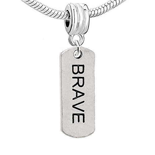 Dog Tag Inspiration/Strength Charm Bead (Brave)