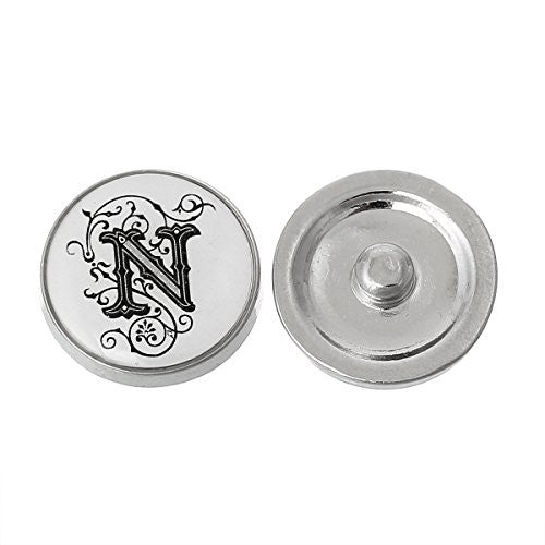 Alphabet Letter N Chunk Snap Button or Pendant Fits Snaps Chunk Bracelet