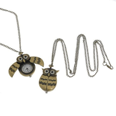Bronze Owl Pocket Watch with Chain Necklace Wings Open and Close Battery Included - Sexy Sparkles Fashion Jewelry - 3