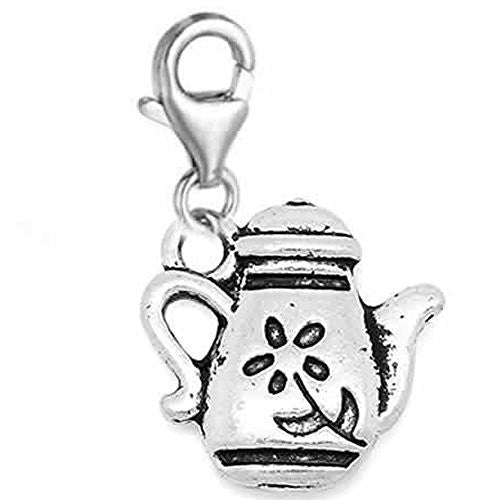 Clip on Teapot Charm Dangle Pendant for European Clip on Charm Jewelry w/ Lobster Clasp