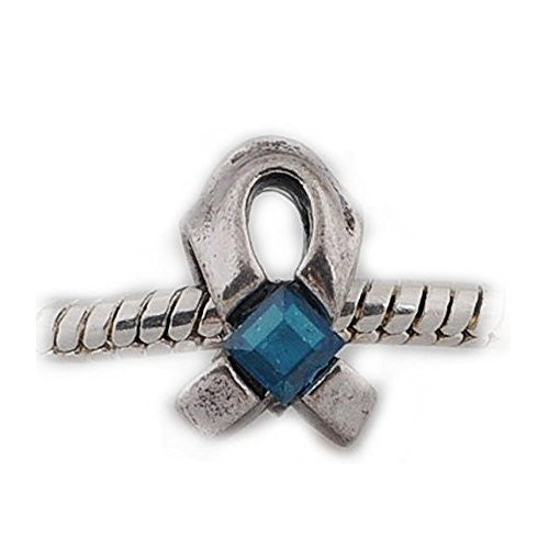 Blue Cancer Awarness Ribbon Charm European Bead Compatible for Most European Snake Chain Bracelet