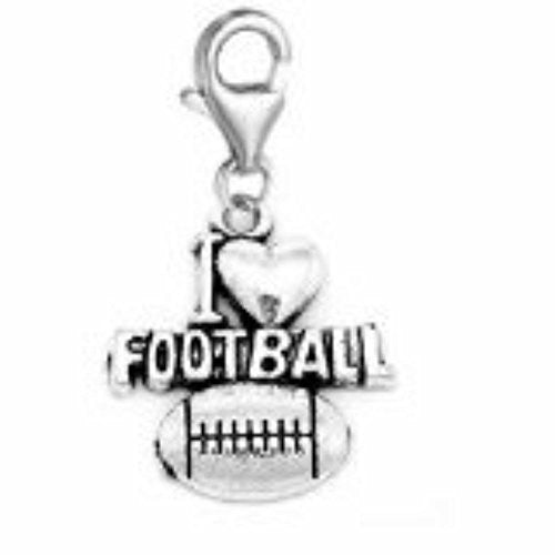 Clip on I Love Football Charm Dangle Pendant for European Clip on Charm Jewelry w/ Lobster Clasp - Sexy Sparkles Fashion Jewelry