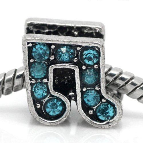 Rhinestone Music Note Charm Bead Spacer for Snake Charm Bracelets (Light Blue)