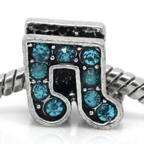 Rhinestone Music Note Charm Bead Spacer for Snake Charm Bracelets (Light Blue) - Sexy Sparkles Fashion Jewelry - 1