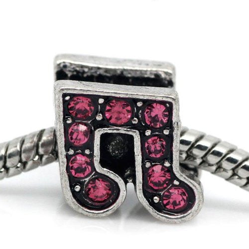 Rhinestone Music Note Charm Bead Spacer for Snake Charm Bracelets (Dark pink)