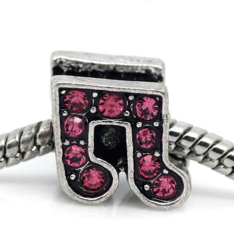 Rhinestone Music Note Charm Bead Spacer for Snake Charm Bracelets (Dark pink) - Sexy Sparkles Fashion Jewelry - 1