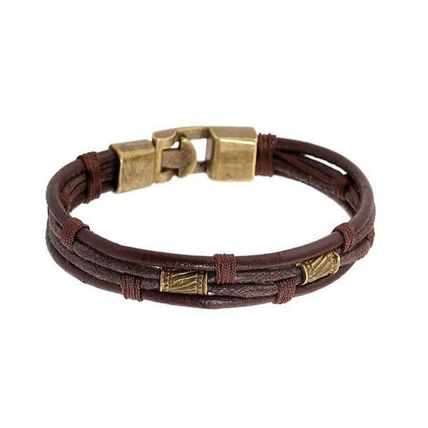 Sexy Sparkles Mens Vintage Leather Wrist Band Brown Rope Bracelet Bangle Braided Cuff Vintage, 8.2inches