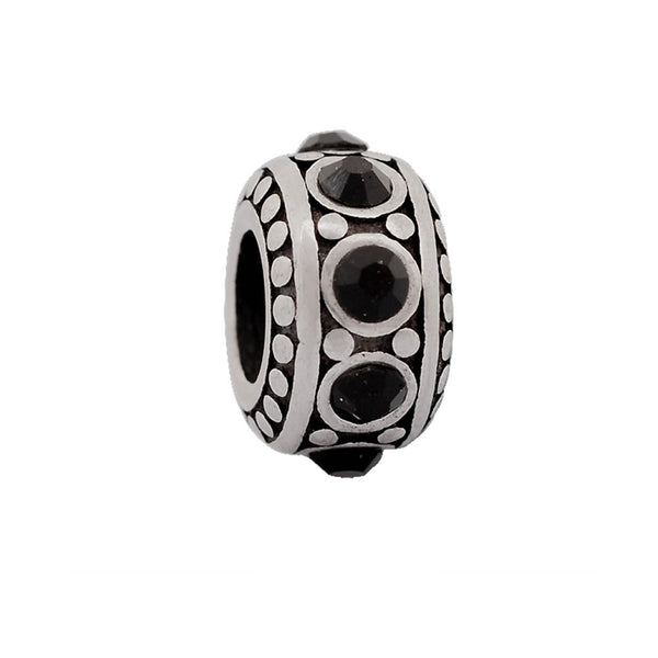 Sexy Sparkles Stainless Steel Round Spacer Bead with Black Rhinestones Pandora Compatilbe