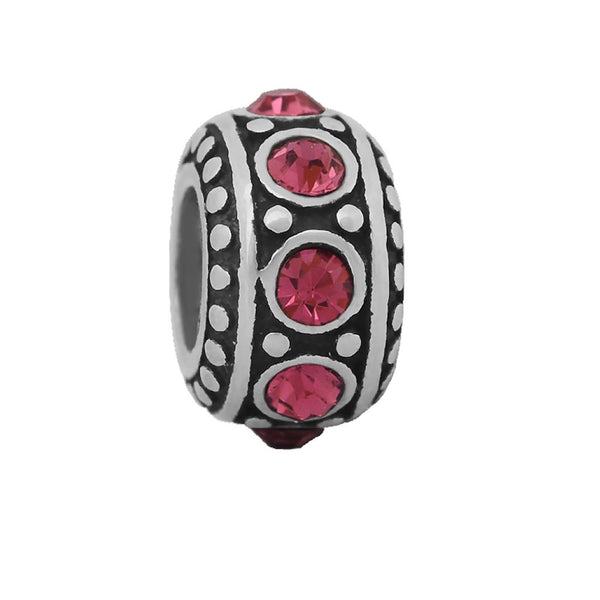 Sexy Sparkles Stainless Steel October Birthstone Spacer Round Charm Bead