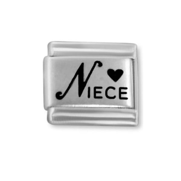 SEXY SPARKLES Italian charm Laser Etched Niece with heart 9mm classic link
