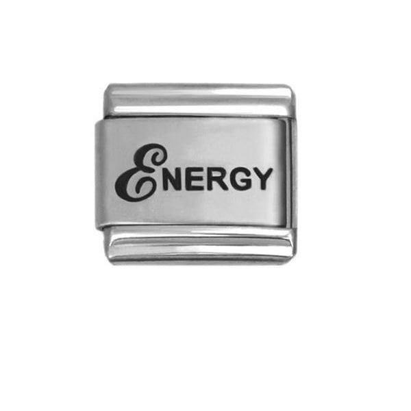 "SEXY SPARKLES ""Energy"" Italian link Laser Etched Charm for link Bracelet 9mm"
