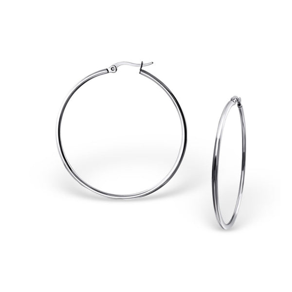 Sexy Sparkles High Polish Surgical Stainless Steel 40MM Hoop Earrings for Women Hypoallergenic