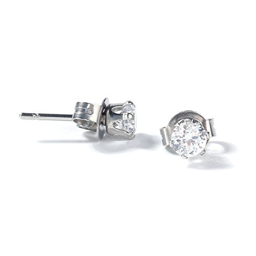Sexy Sparkles Women's Stainless Steel Round Clear Cubic Zirconia Stud Earring 7mm