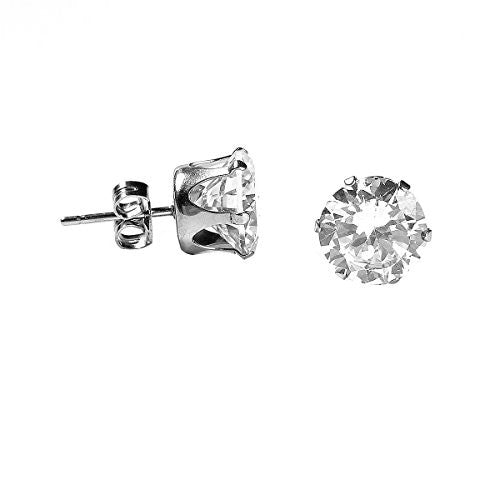 Sexy Sparkles Women's Stainless Steel Round Clear Cubic Zirconia Stud Earring 9mm