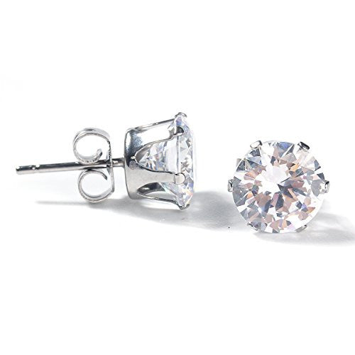 Sexy Sparkles Women's Stainless Steel Round Clear Cubic Zirconia Stud Earring 10mm
