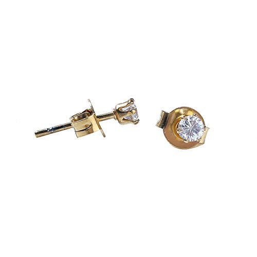 Sexy Sparkles Women's Stainless Steel Round Cubic Zirconia Stud Earring Gold Plated 6mm