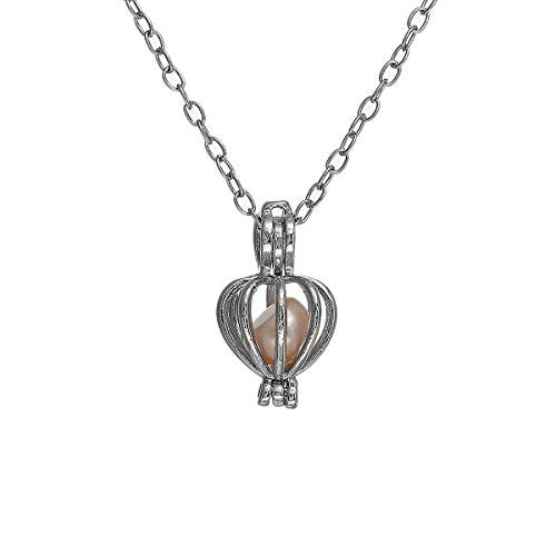 Sexy Sparkles Pearl and Heart Locket Necklace Silver Tone