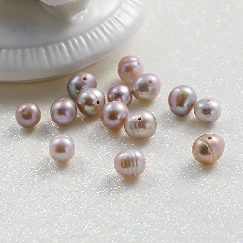 SEXY SPARKLES Pack of 10Pcs Mauve Natural Freshwater Cultured Pearls 7-8mm Beads Round Loose Beads For Jewelry Making Wholesale