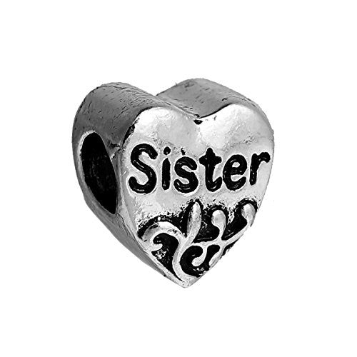 "SEXY SPARKLES European ""Sister "" Heart Charm Bead Spacer for Snake Chain Charm Bracelet"